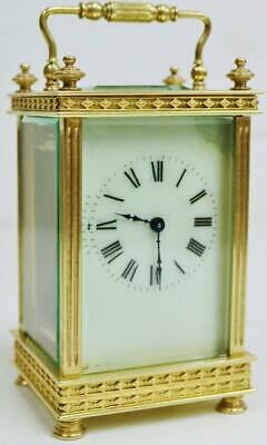 Antique French Carriage Clock 8 Day Fretwork Decoration Timepiece Mantel Clock