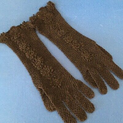 Vintage Black Evening Crochet Gloves, Flowers, long enough to cover the wrist