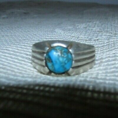 Antique Silver Ring Turquoise, ethnic middle east, Islamic, Handmade in Egypt