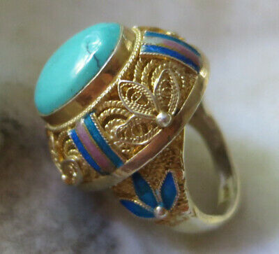 GOLD on STERLING CHINESE IMPORT RING w TURQUOISE 24mm WIDE, SIZE 5.75
