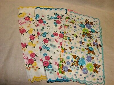 Lot of 10 NEW 1960s Vintage Ladies or Girls Handkerchiefs, Floral Linen, Cotton