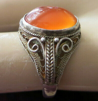 STERLING CHINESE IMPORT RING w CARNELIAN - ADJUSTABLE SIZE 5.5 to 8.5