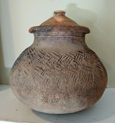 Antique Lidded Pottery Urn - THAILAND - 18th/19th Century