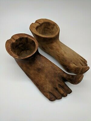 "Wood Foot Ashtray Folk Art Funky Bigfoot Tribal Hand Carved 8"" Pair"