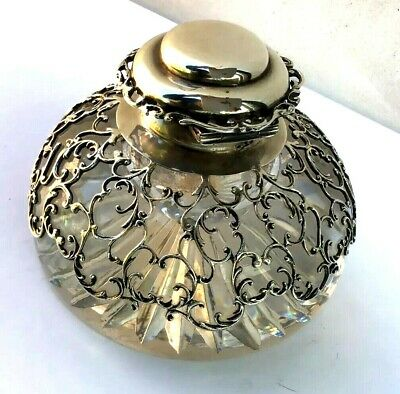 Antique William Comyns & Sons Ltd Sterling Silver Inkwell Paperweight