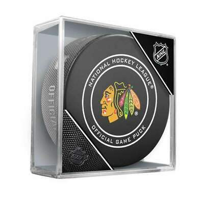 Chicago Blackhawks Inglasco NHL Official Game Puck In Case