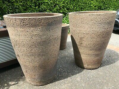 A Pair Of Very Large Old Stone Pots - Approx 90Cm High - Great For Landscaper