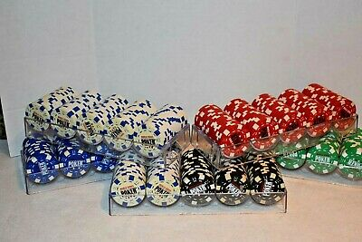world Series of poker poker chips 500 chips Red White Black Blue Red