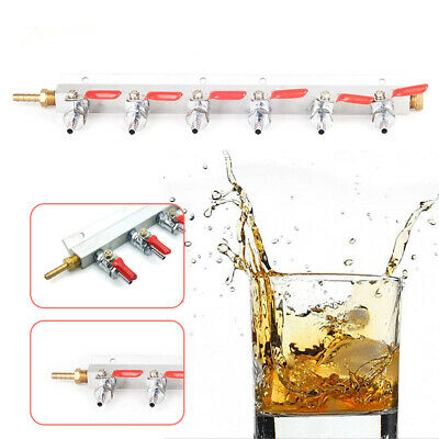 """6-Way Splitter CO2 Beer Gas Manifold/Distributor 1/4"""" Inlet and Outlets New"""