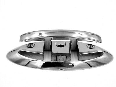 """Heavy Duty 6"""" Flush Mount Stainless Steel Folding Pull Up Boat Dock Cleat Chrome"""