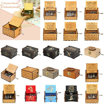 Retro Wooden Music Box Hand Crank Engrave Toy Kids Music Box Xmas Home Decor