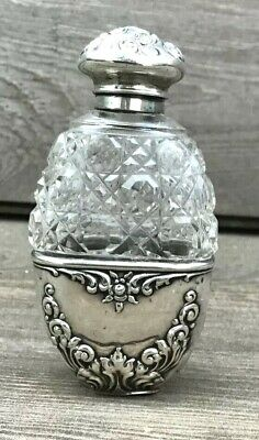 Antique American Sterling Silver and Crystal Perfume Bottle