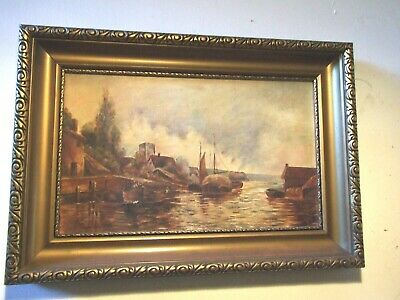 Antique Dutch Oil Painting 'Boats in Port ' Canvas Signed Gilt Frame Vnt .1900's