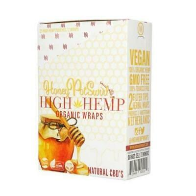 High Hemp Organic Wrap 25 Pouch in Box 2 in a Pouch 50 Wraps NEW Honey Pot Swirl
