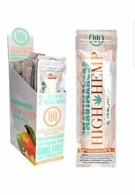 High Hemp Organic Wrap 25 Pouch in Box 2 in a Pouch 50 Wraps NEW Maui Mango
