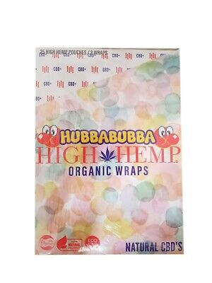 High Hemp Organic Wrap 25 Pouch in Box 2 in a Pouch 50 Wraps NEW HUBBABUBBA