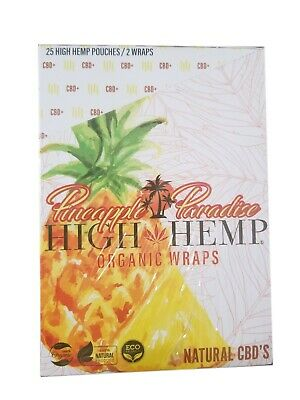 High Hemp Organic Wrap 25 Pouch in Box 2 in a Pouch 50 Wraps NEW Pineapple