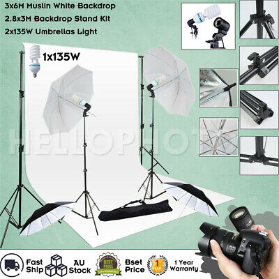 Photography Umbrella Light White Backdrop Stand Photo Studio Continuous Lighting