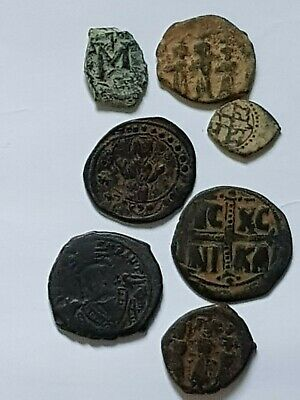 Stunning Rare Top Lot Of 7 Ancient Byzantine Bronze Coins Uncertain Very Interes