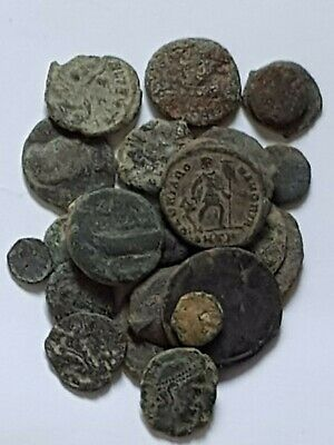 Stunning Rare Lot Of 22 Ancient Roman Bronze Coins Uncertain (Low Condition)