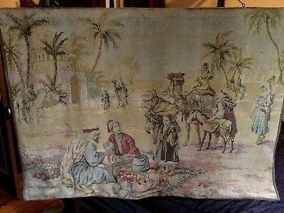 Large Antique Victorian Woven Tapestry. Genuine