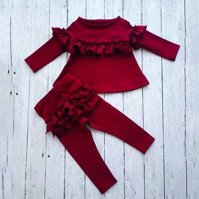 Boutique Newborn Infant Baby Girl Outfits Ruffle Tops Pants Leggings Clothes Set