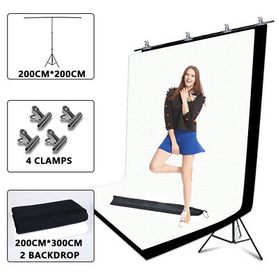 Photo Studio Large 2x3M Black White Backdrop+T Type Background Support Stand Kit