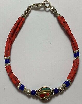 Late Medieval Bracelet Red Silver - Lapis Lazuli Stones, Red, 1 Bead Goldplated
