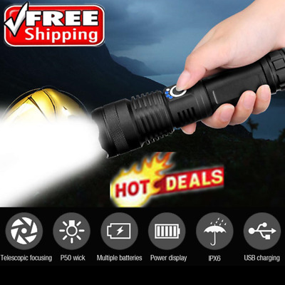 High Power 900000Lumens XHP50 Zoom Flashlight LED Rechargeable Torch Headlamp m5