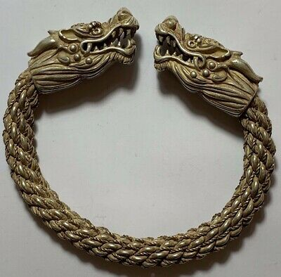 FANTASTIC MEDIEVAL SILVER BRACELET TWO DRAGON HEAD VERY NICE 119.6gr 98mm
