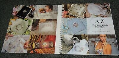 A - Z Embroidered Flowers Pattern Book Rose Wisteria Hydrangea Iris Pansy Orchid