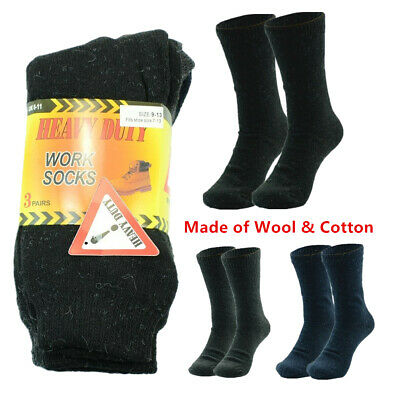 3-12 Pairs Men Heavy Duty Winter Thermal Solid Wool Cotton Boots Work Crew Socks