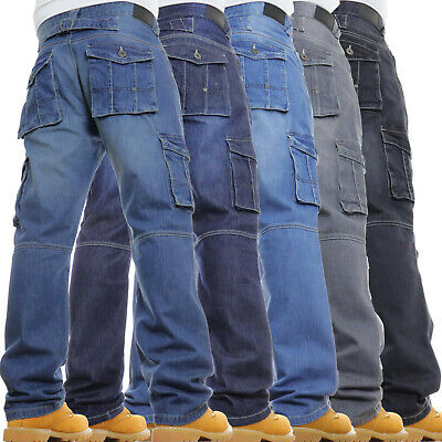 Mens Cargo Combat Jeans New Casual Work Heavy Denim Pants Trousers JUST ARRIVED