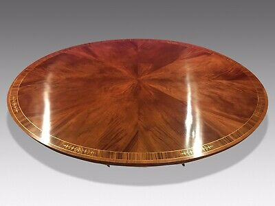 7.3ft Amazing Sunburst Flame mahogany Oval Grand dining table. French polished