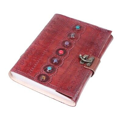 Leather Journal with 7 Stones & Buckle Closure Leather Diary Gift for her/him