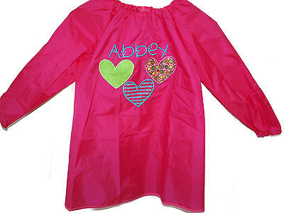 Kids Personalised Art Smock  / Paint Shirt - Applique 3 Hearts - First name FREE