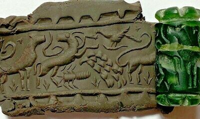 INTACT RARE NEAR EASTERN CYLINDER SEAL - ANIMALS PENDANT 13.7gr 32mm