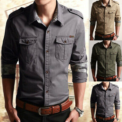 Men's Long Sleeve Shirts Military Army Tactical Work Outdoor T Shirt Blouse Tops