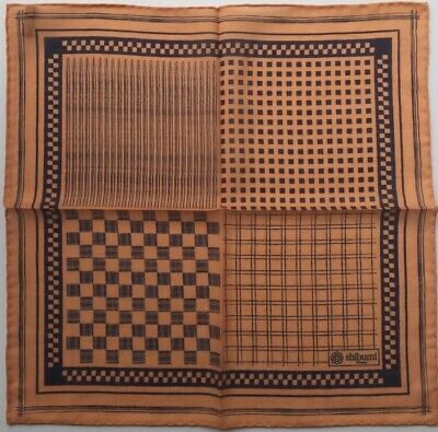 "SHIBUMI Firenze Wool Silk Printed Pocket Square, Brand New, 15""x15"", Brown Tan"