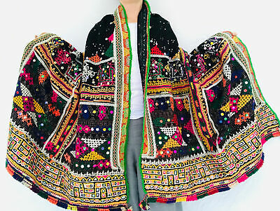 Vintage Banjara Rabari Wool Shawl And Throw. Mirror work & Embroidered