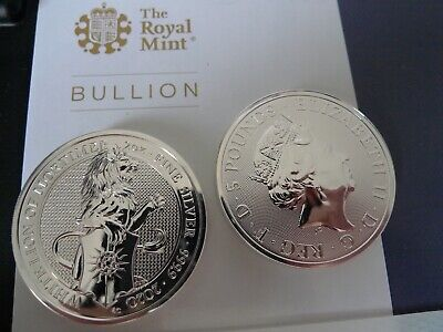 TWO NEW 2020 UK 2 ounce Queen's Beasts £5 White Lion Mortimer 2oz Silver Coins