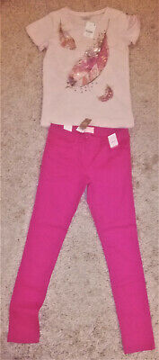 NEXT Children's Skinny Pink Trousers and Pink Top Age 12