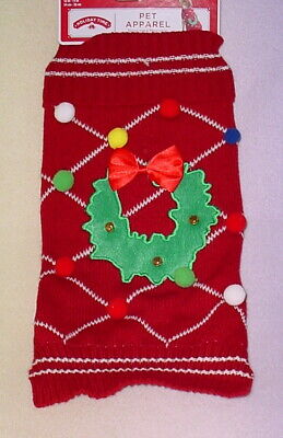 Holiday Time Christmas Dog Sweater * Red/Green With Wreath * New *Cute*