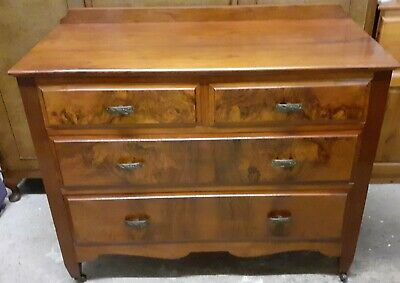 Antique Solid Oak & Walnut Chest of 2+2 Drawers