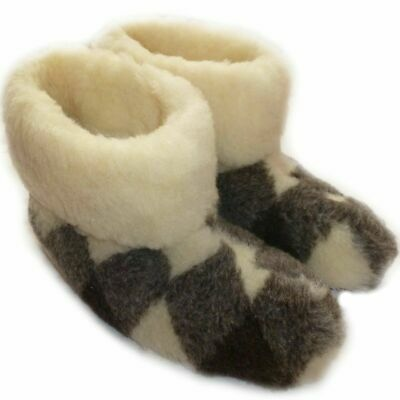 Size EU 43 UK 9 Women`s, Mens, Winter Slippers, Pure Sheep Wool, Felt sole