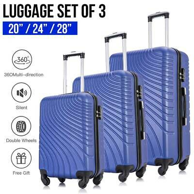 3 Piece Hardshell Lightweight Spinner Luggage Set Travel  ABS Trolley Suitcase
