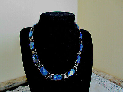 Stunning Vintage Antique Blue Glass Necklace Faceted Stones Silvertone Metal 16""