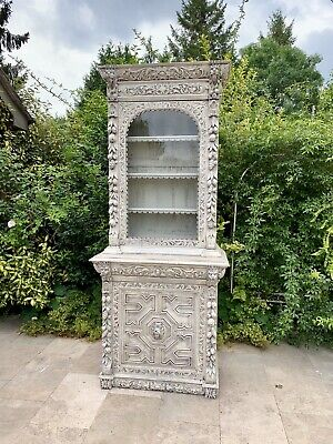 Tall Slim Continental  Antique Carved Oak Gothic Bookcase  Lions Green Man