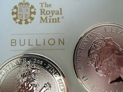 2x  New 2020 QUEENS BEAST'S White Lion of Mortimer 2oz 999 Silver bullion Coins