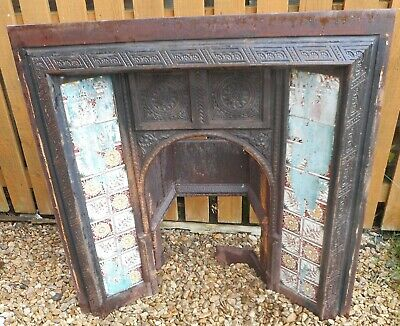Cast Iron Fireplace Insert & Tiles Probably Minton Reclamation Victorian Display
